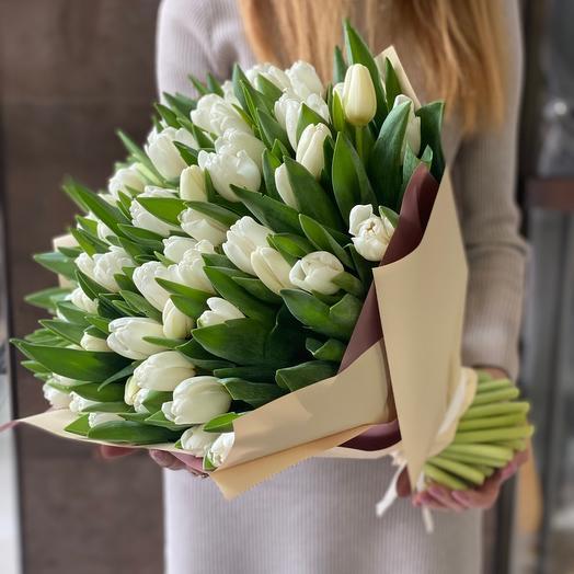 Белый тюльпан 65 шт 💜💜💜