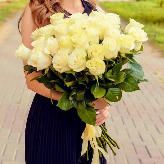 Букет из 35 белых роз Премиум