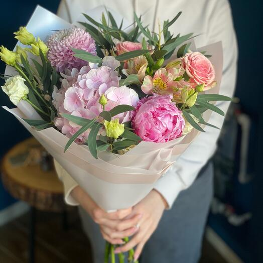Bouquet with hydrangea and peony