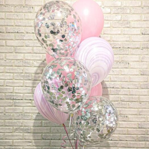"""Набор из 8 шаров """"Нежный розовый"""""""