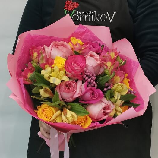 Букет с пионовидной розой. Нежный поцелуй