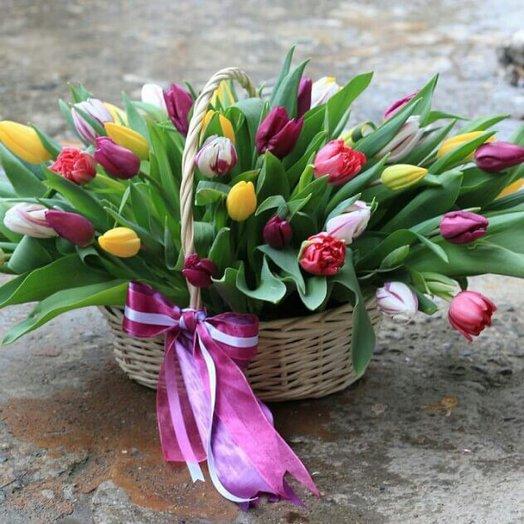 Корзина из 51 тюльпана : букеты цветов на заказ Flowwow