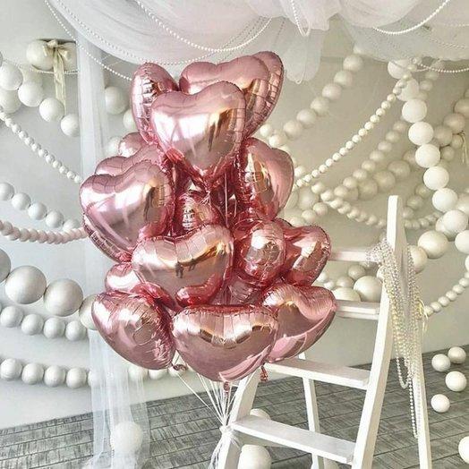 """Фольгированные сердца """"Розовое золото"""" 17 шт: букеты цветов на заказ Flowwow"""