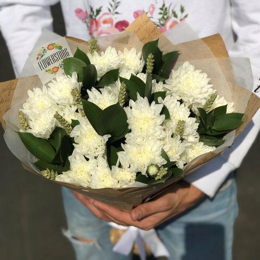 Букет хризантема кустовая белая 5 веток. N240: букеты цветов на заказ Flowwow
