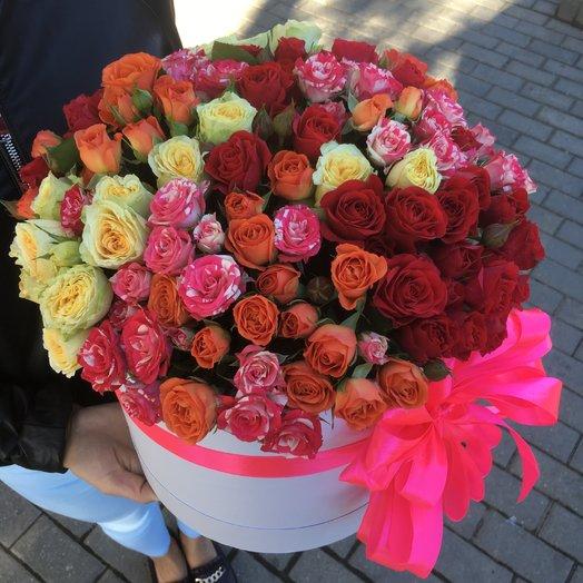 Коробка кустовыми розами: букеты цветов на заказ Flowwow