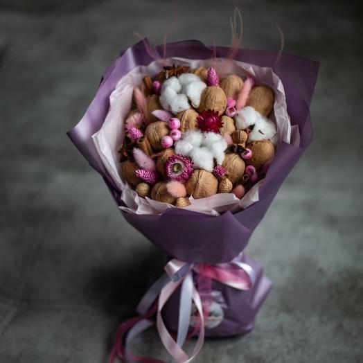 """Букет """"Ореховый"""" с розовыми сухоцветами: букеты цветов на заказ Flowwow"""
