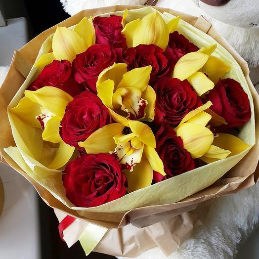 Розы и цимбидиум