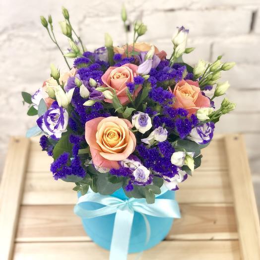"Шляпная коробка ""Морской бриз"": букеты цветов на заказ Flowwow"