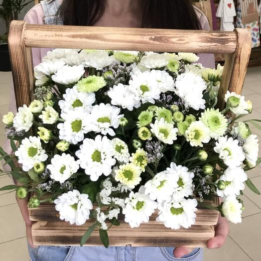 Ящичек из хризантем: букеты цветов на заказ Flowwow