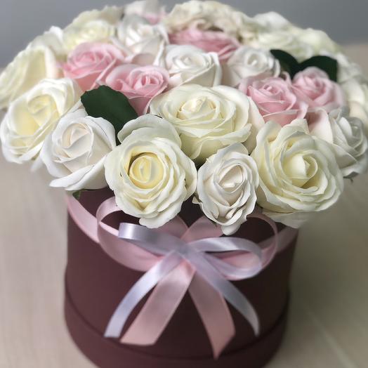 Розы мыльные премиум в коробке: букеты цветов на заказ Flowwow