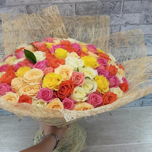 Микс из разных роз: букеты цветов на заказ Flowwow