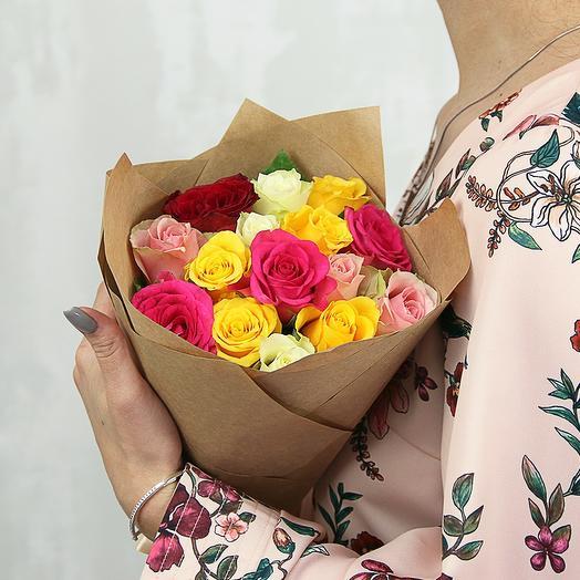 Букет из 15 роз микс 40 см (Кения) в упаковке
