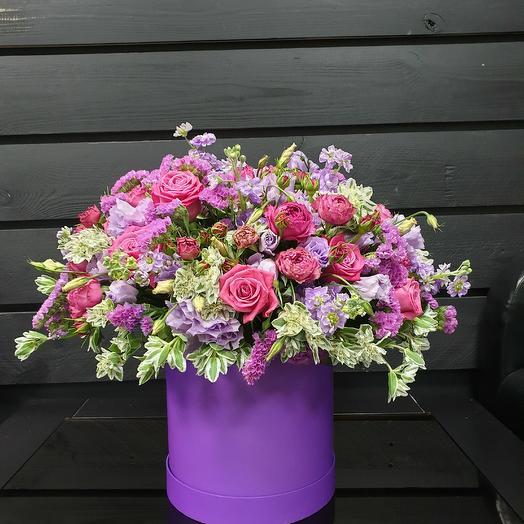 Композиция в коробке сиреневая: букеты цветов на заказ Flowwow