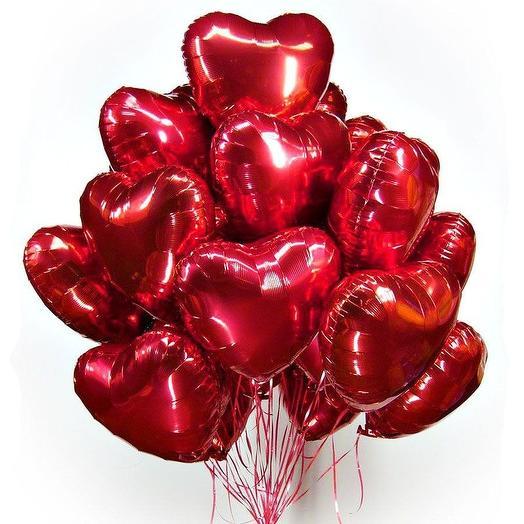 "15 гелиевых шаров "" Сердце"": букеты цветов на заказ Flowwow"