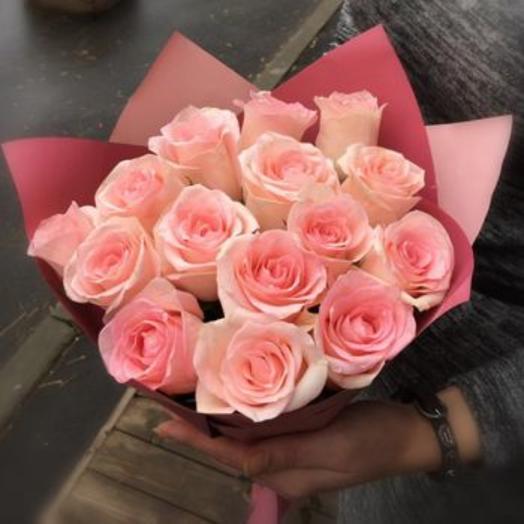 Букет из 15 нежных розовых роз
