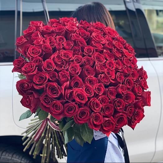 Монобукет 101 алая Роза