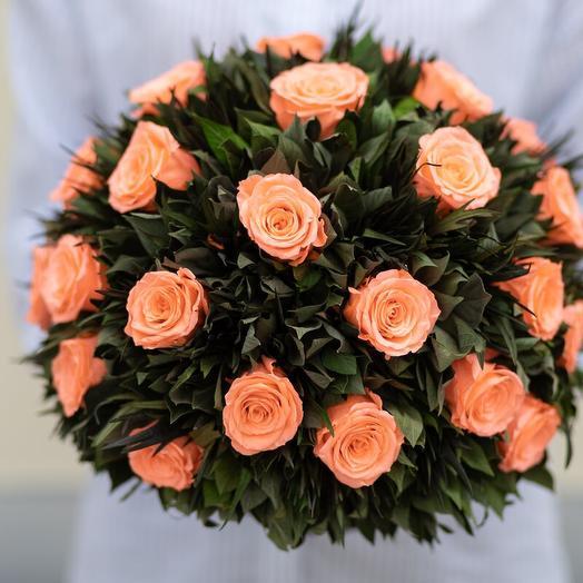 Композиция Вельвет Гревиллея (цвет - персиковый)