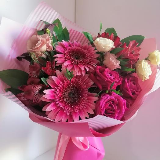 Ruby bouquet (bouquet with gerberas, calla lilies, pink and alstroemeria)