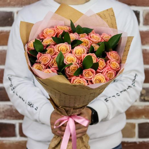 Букет из 29 персиковых роз (50 см). N891