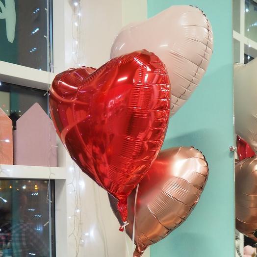 Шар сердце Микс красно-шоколадный
