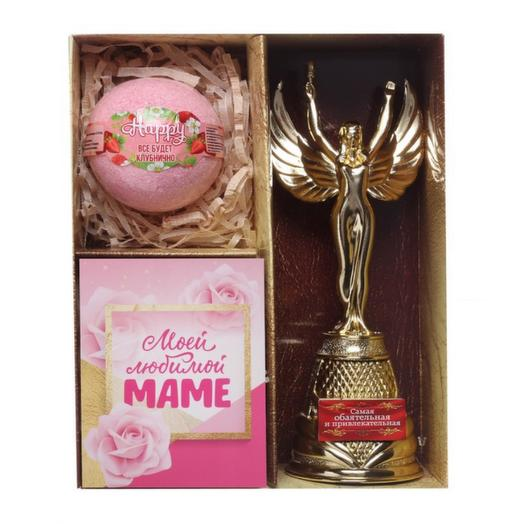 """Подарочный набор """"Любимой маме"""" (награда, соль,  открытка)"""