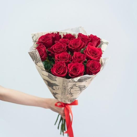 Букет из 15 красных роз Эквадор 60 см