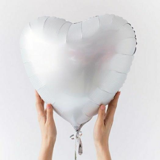 """Фольгированный шар сердце""""Белый"""""""
