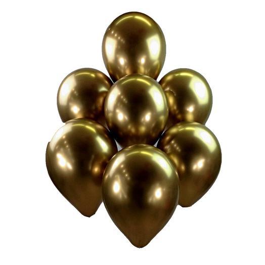 Шары гелиевые 7 шт. зеркальные золото