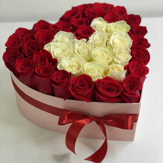 Patricia heart box of white and red roses Patricia
