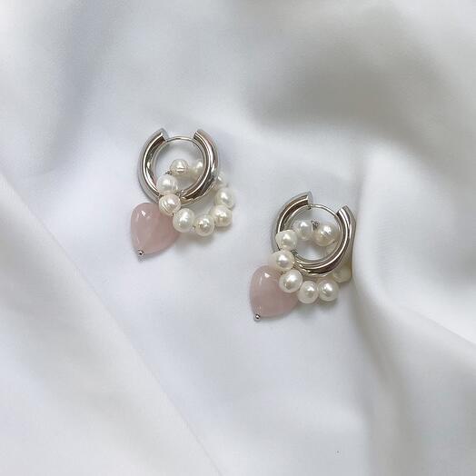 Серьги - кольца Leda hoops розовый кварц   жемчуг - серебро