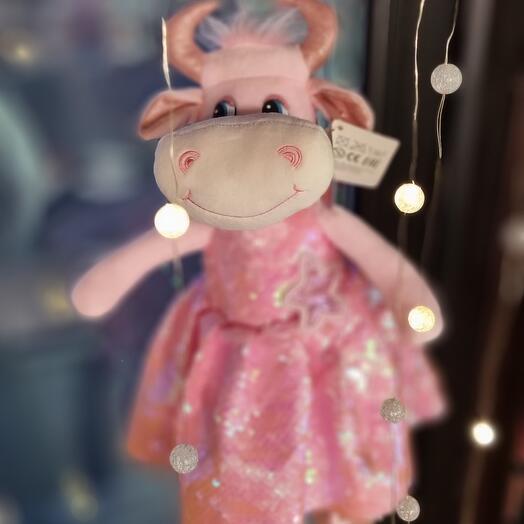 Мягкая игрушка в блестящей платье, розовое