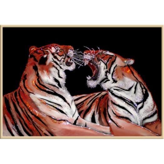 """Картина с кристаллами Swarovski """"Бенгальские тигры"""""""