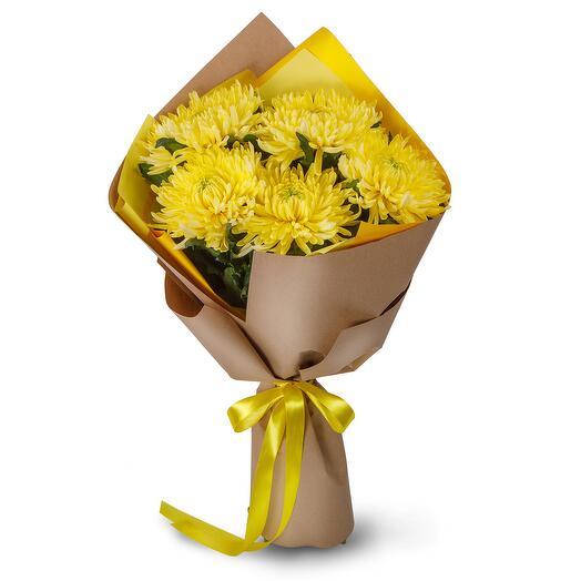 Букет из 5 желтых хризантем Сингл