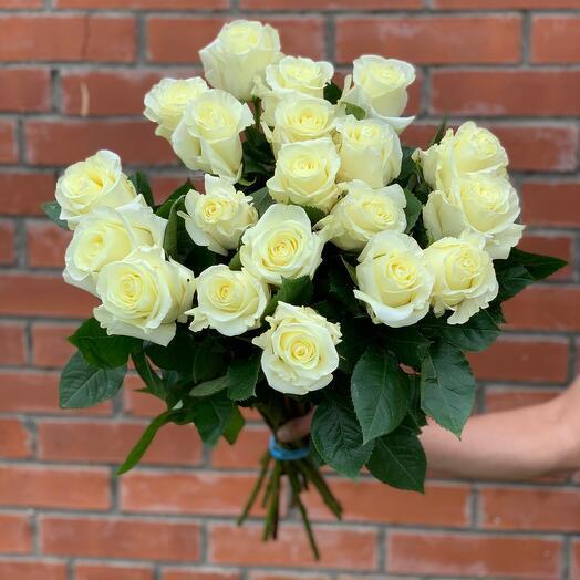 21 белая роза под ленту