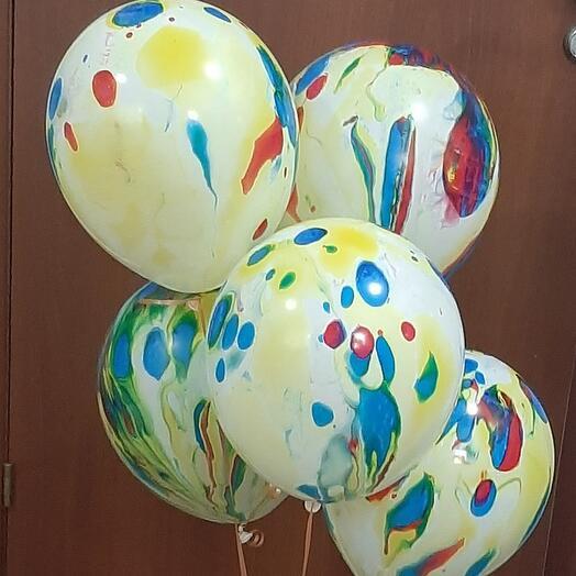 5 гелиевых разноцветных шаров