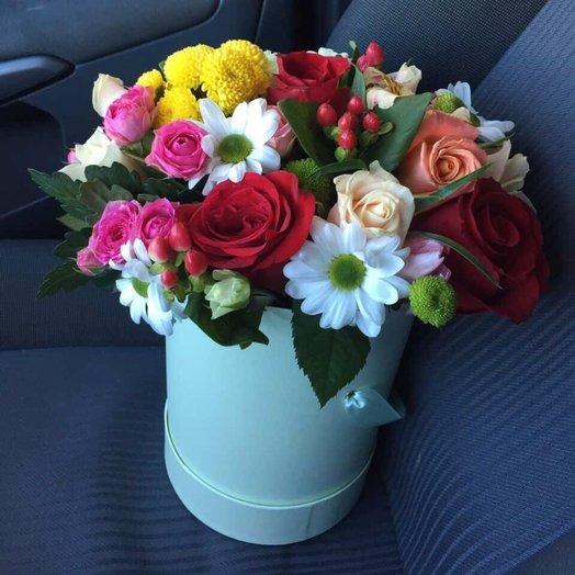 Цветы в шляпной коробке Пасодобль: букеты цветов на заказ Flowwow