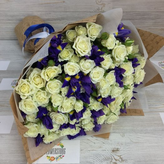 Ирисы, Кустовые розы , Букет. N60: букеты цветов на заказ Flowwow