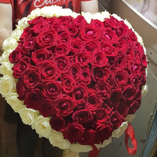 125 роза 60 см. Сердце это любовь: букеты цветов на заказ Flowwow