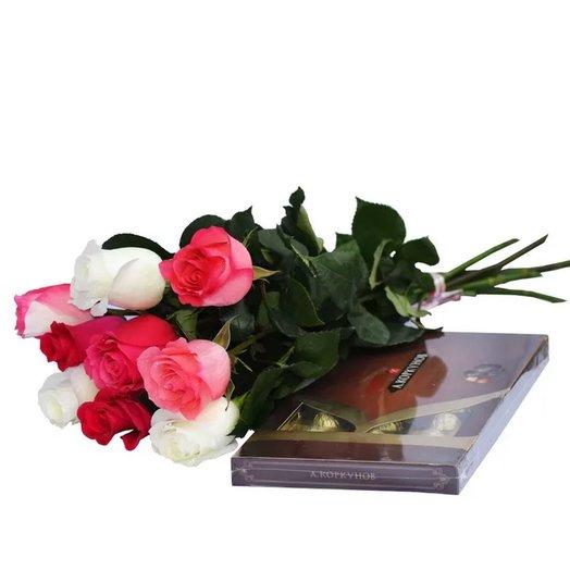 Набор  9 разноцветных роз и Коркунов 200 гр