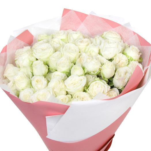 """Букет из 15 белых кустовых роз """"Мисс Бомбастик"""": букеты цветов на заказ Flowwow"""