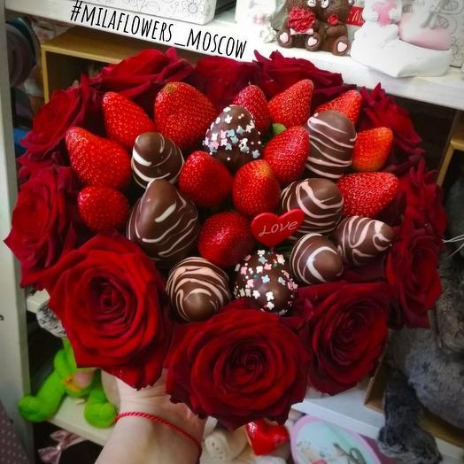 """Композиция с клубникой """"Сердце моё"""": букеты цветов на заказ Flowwow"""
