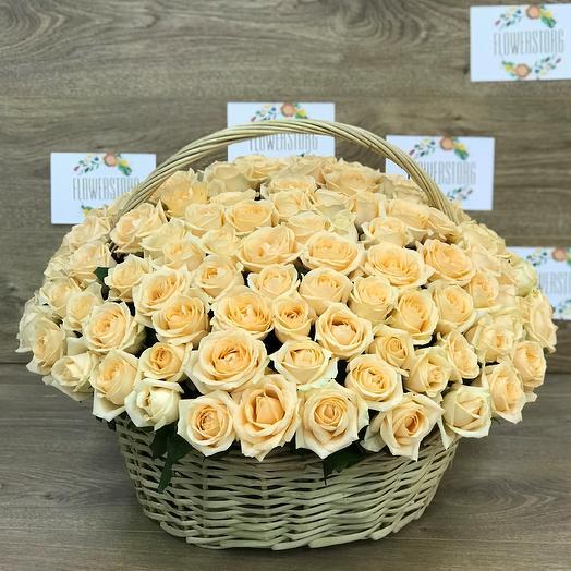 Корзины с цветами.  Кремовые розы. 151 роза. N377