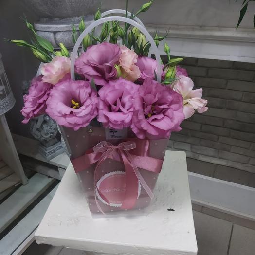 Сумочка с эстомой: букеты цветов на заказ Flowwow