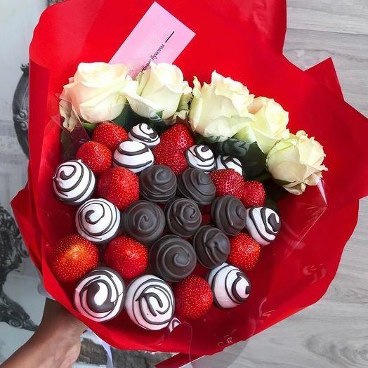 Клубничный букет «марсианка»: букеты цветов на заказ Flowwow