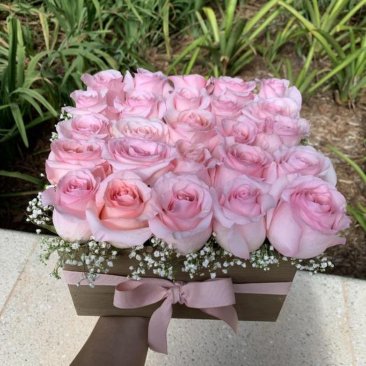 Pink roses on a box