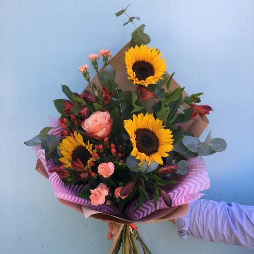 Букет с Подсолнухами 🌻: букеты цветов на заказ Flowwow