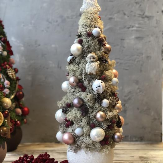 Рождественская ёлка из белого стабилизированного мха: букеты цветов на заказ Flowwow