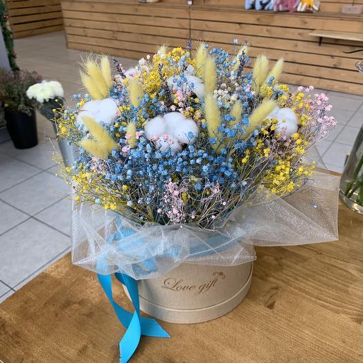 Коробка из сухоцветов: букеты цветов на заказ Flowwow