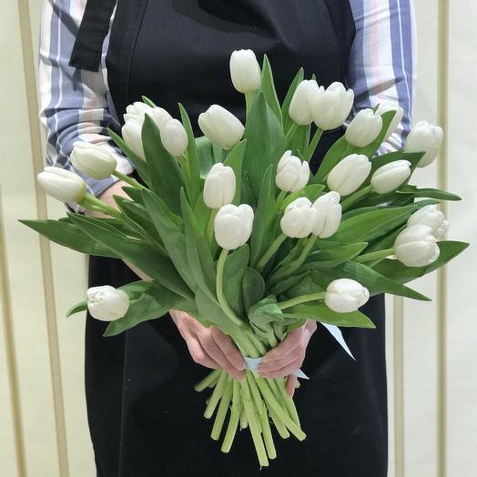 25 белоснежных тюльпанов