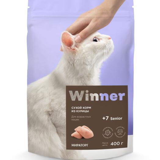 Winner полнорационный сухой корм для пожилых кошек из курицы 400 г